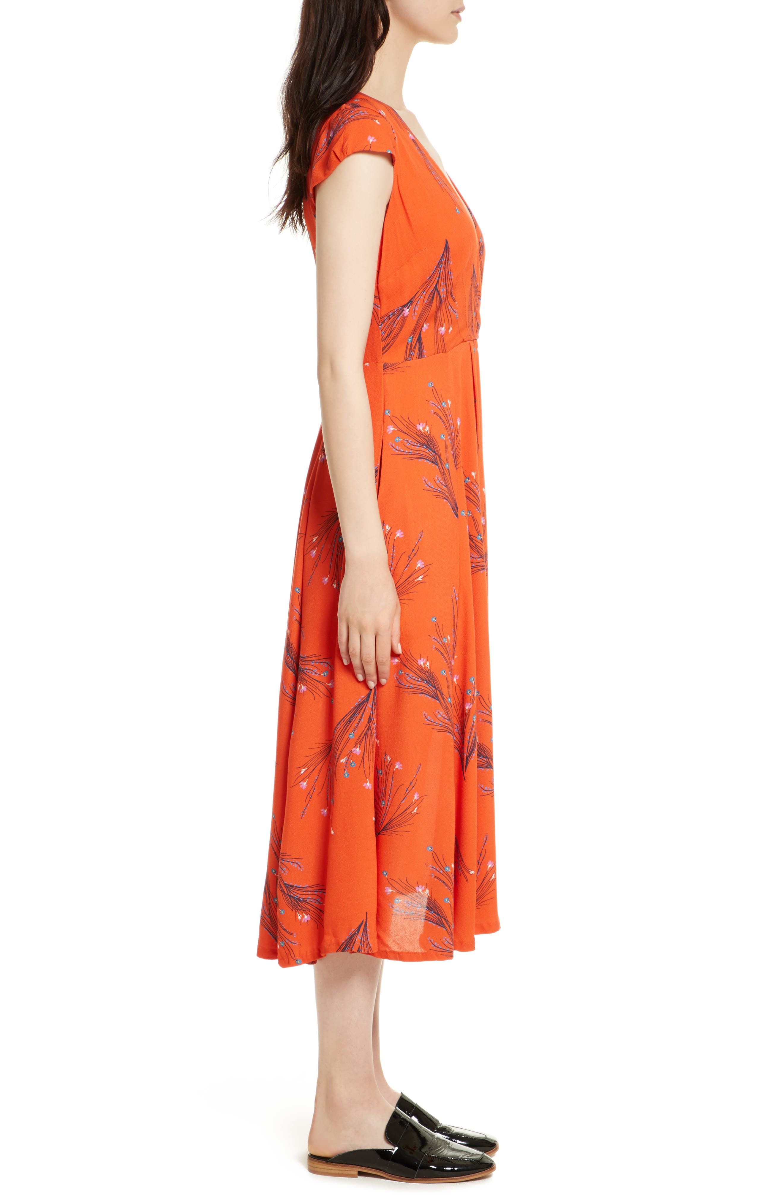 ,                             Print Retro Midi Dress,                             Alternate thumbnail 10, color,                             600