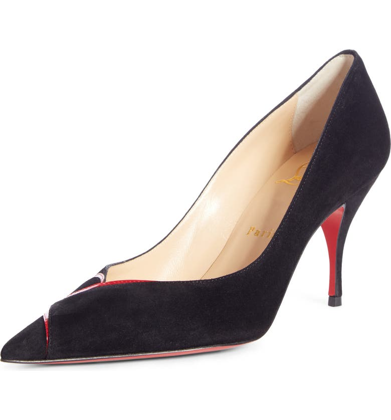 CHRISTIAN LOUBOUTIN CL Logo Pointy Toe Pump, Main, color, BLACK/ RED