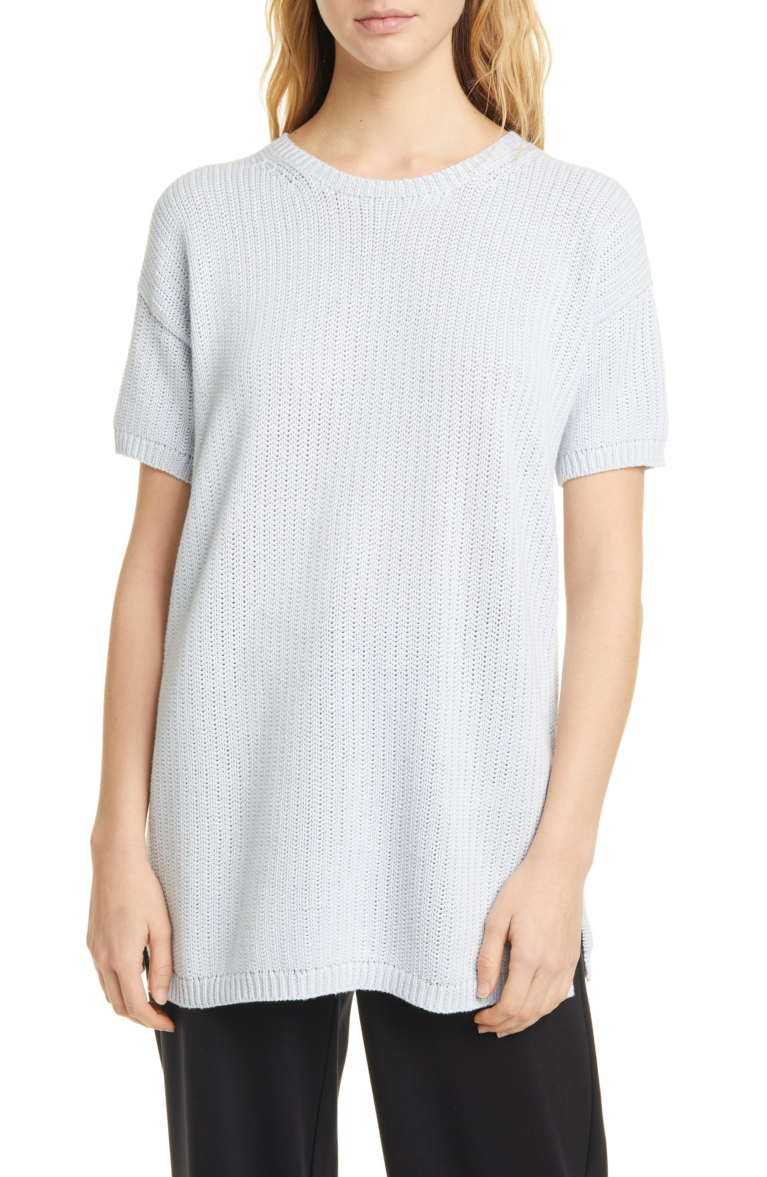 Image of Eileen Fisher Short Sleeve Tunic Sweater