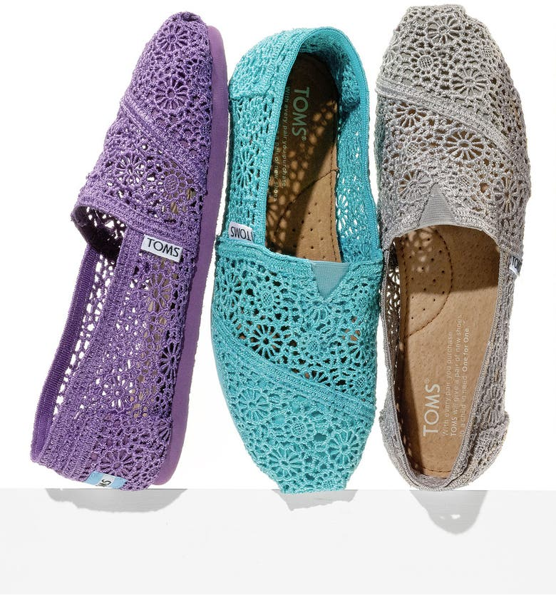 TOMS 'Classic' Crochet Slip-On, Main, color, 001