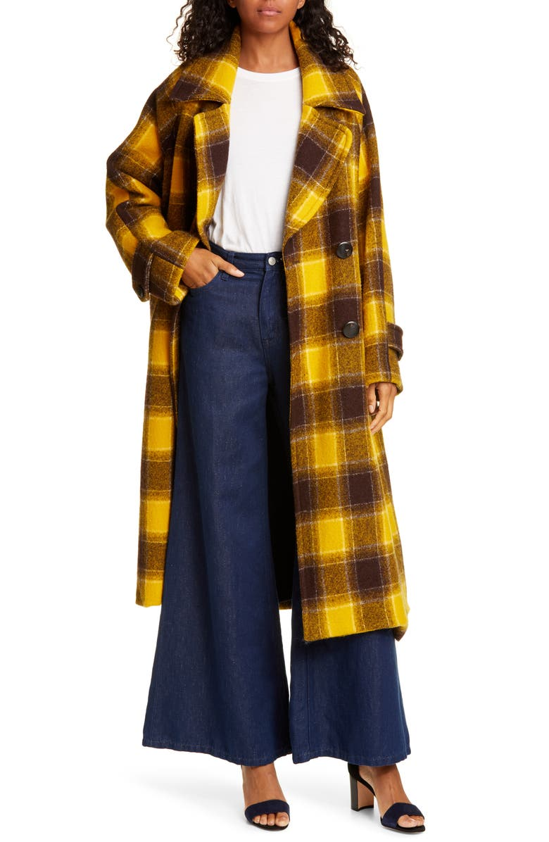 SEA Amber Plaid Double Breasted Wool Coat, Main, color, YELLOW