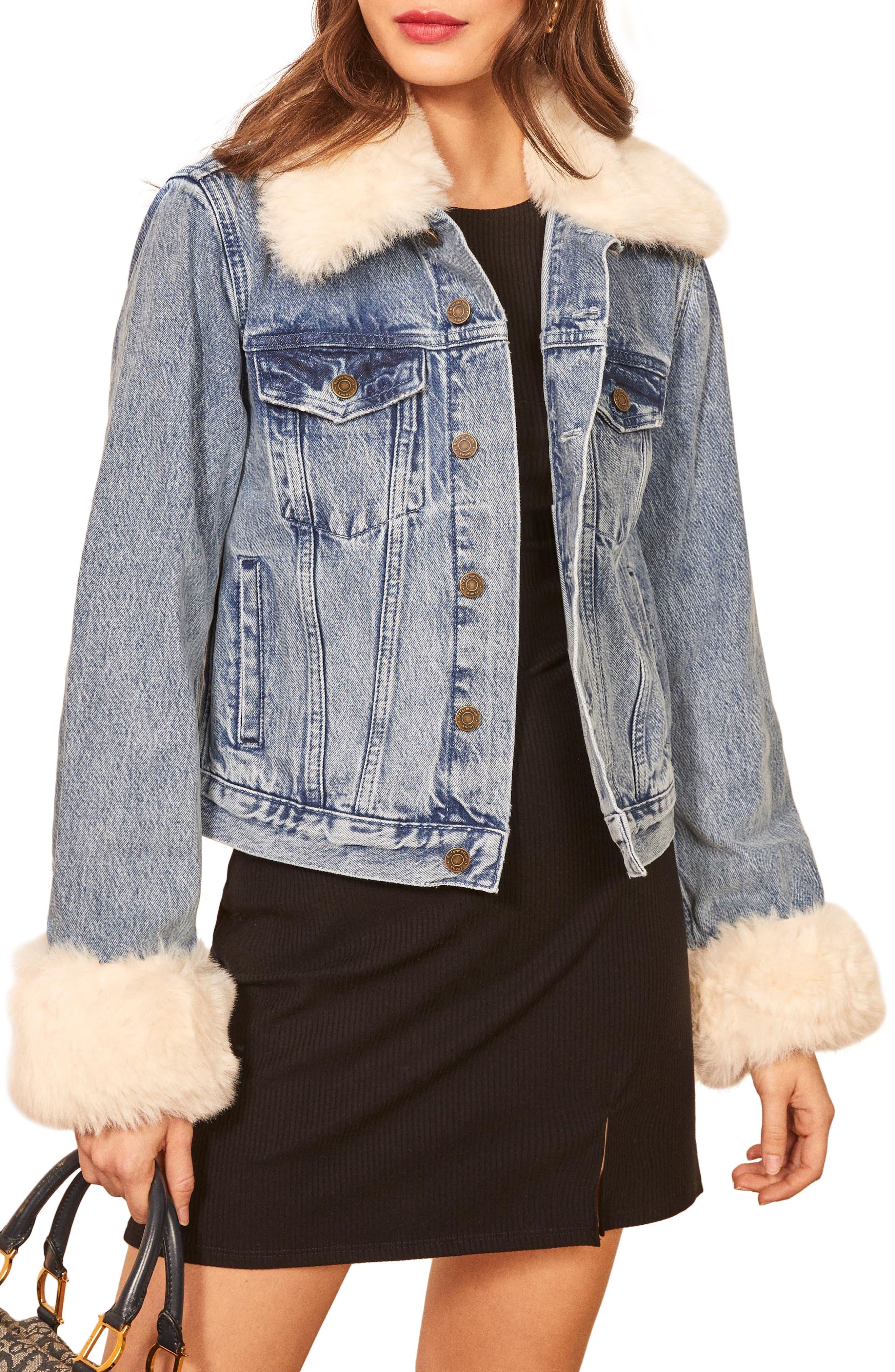 Reformation Aussie Faux Fur Trim Denim Jacket