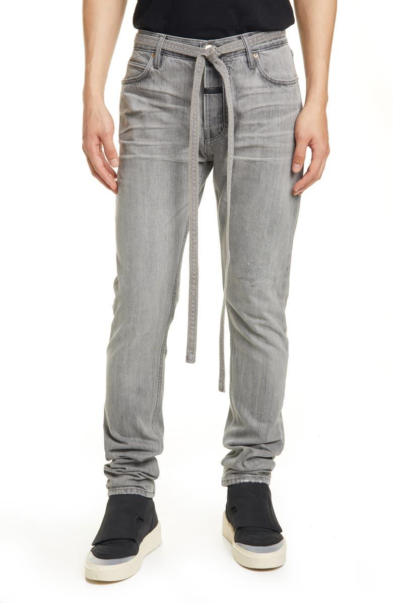 FEAR OF GOD Tie Waist Slim Fit Jeans, Main, color, GOD GREY