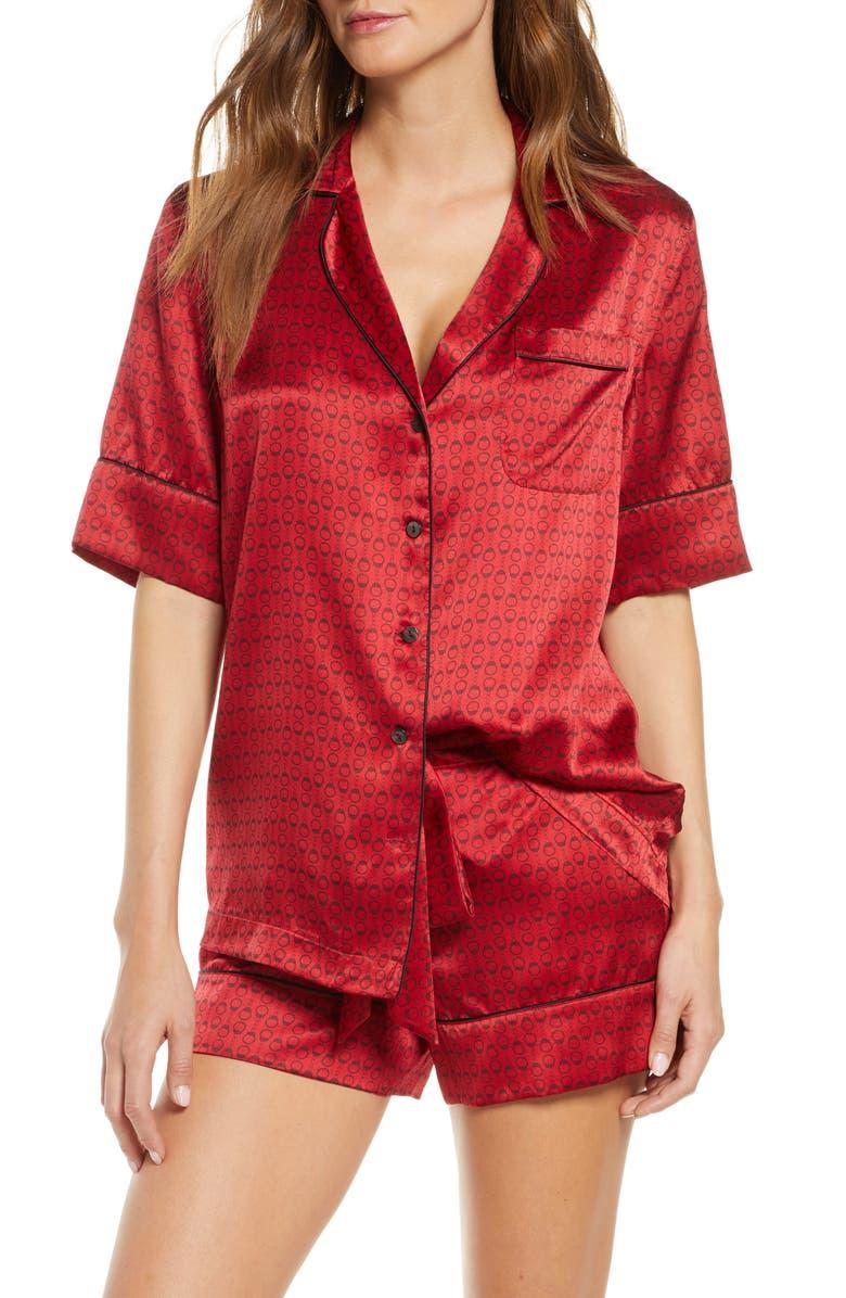 KIKI DE MONTPARNASSE Silk Short Pajamas, Main, color, RED