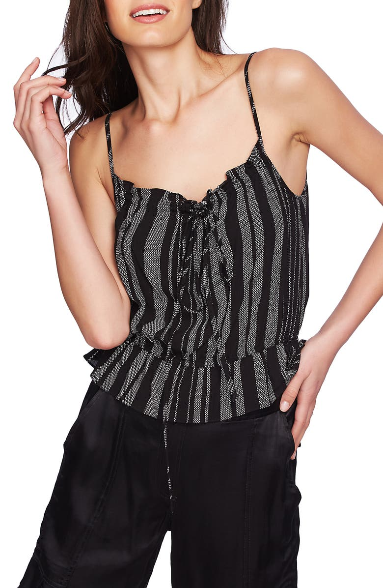 1.STATE Checker Grid Stripe Peplum Camisole, Main, color, RICH BLACK