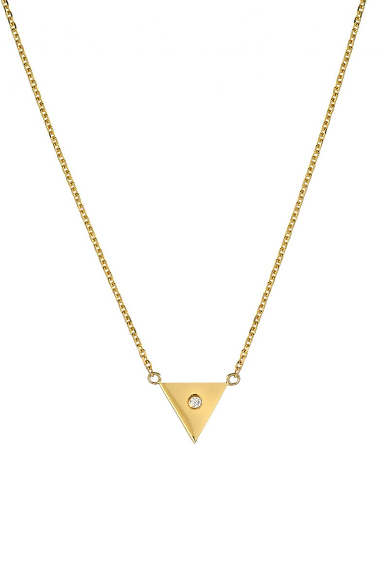 MINI MINI JEWELS Forever Collection - Triangle Diamond Pendant Necklace, Main, color, YELLOW GOLD