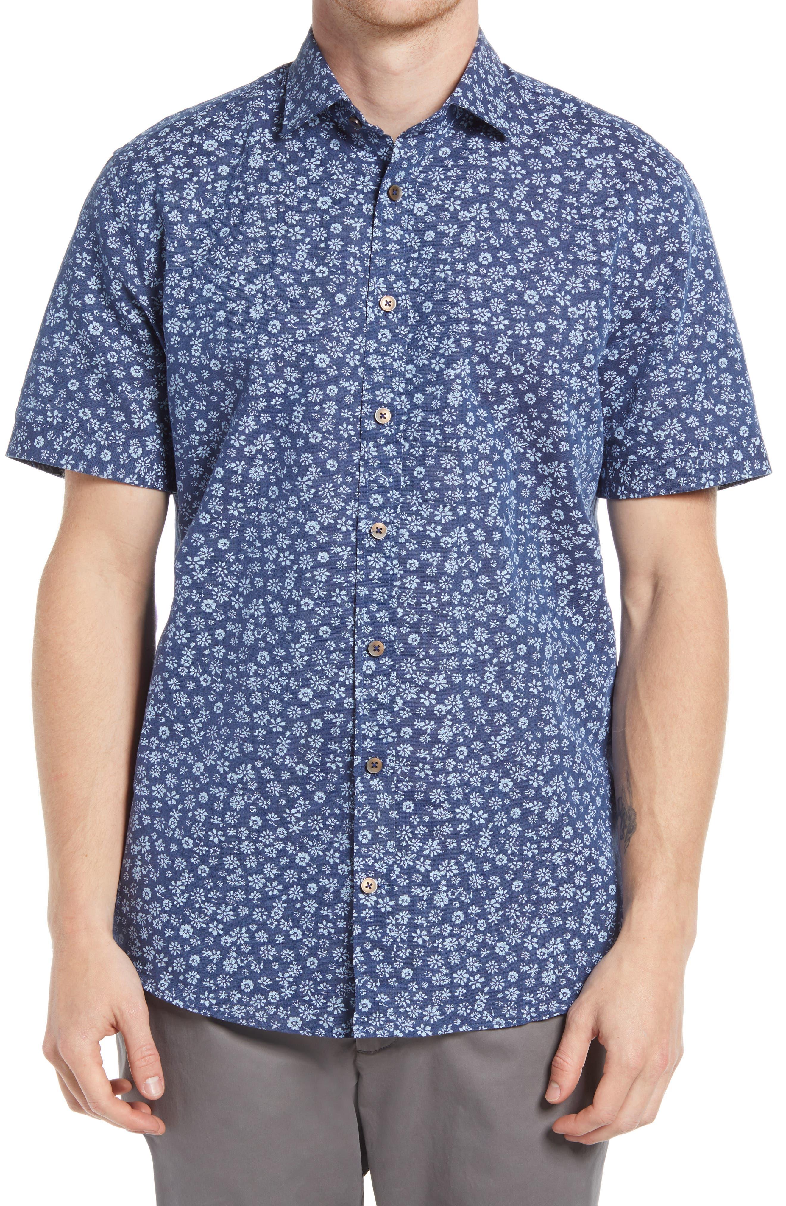 Floral Short Sleeve Button-Up Linen & Cotton Shirt