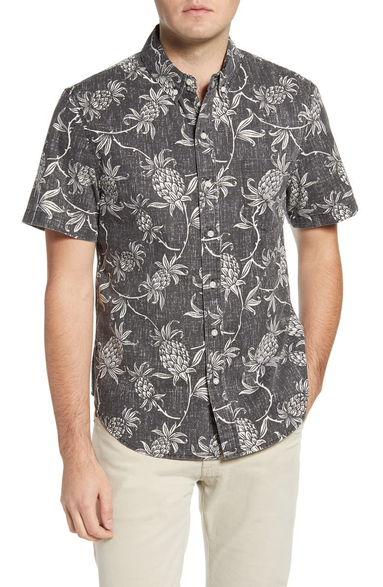 REYN SPOONER Aloha Welcome Tailored Fit Short Sleeve Button-Down Shirt, Main, color, 001