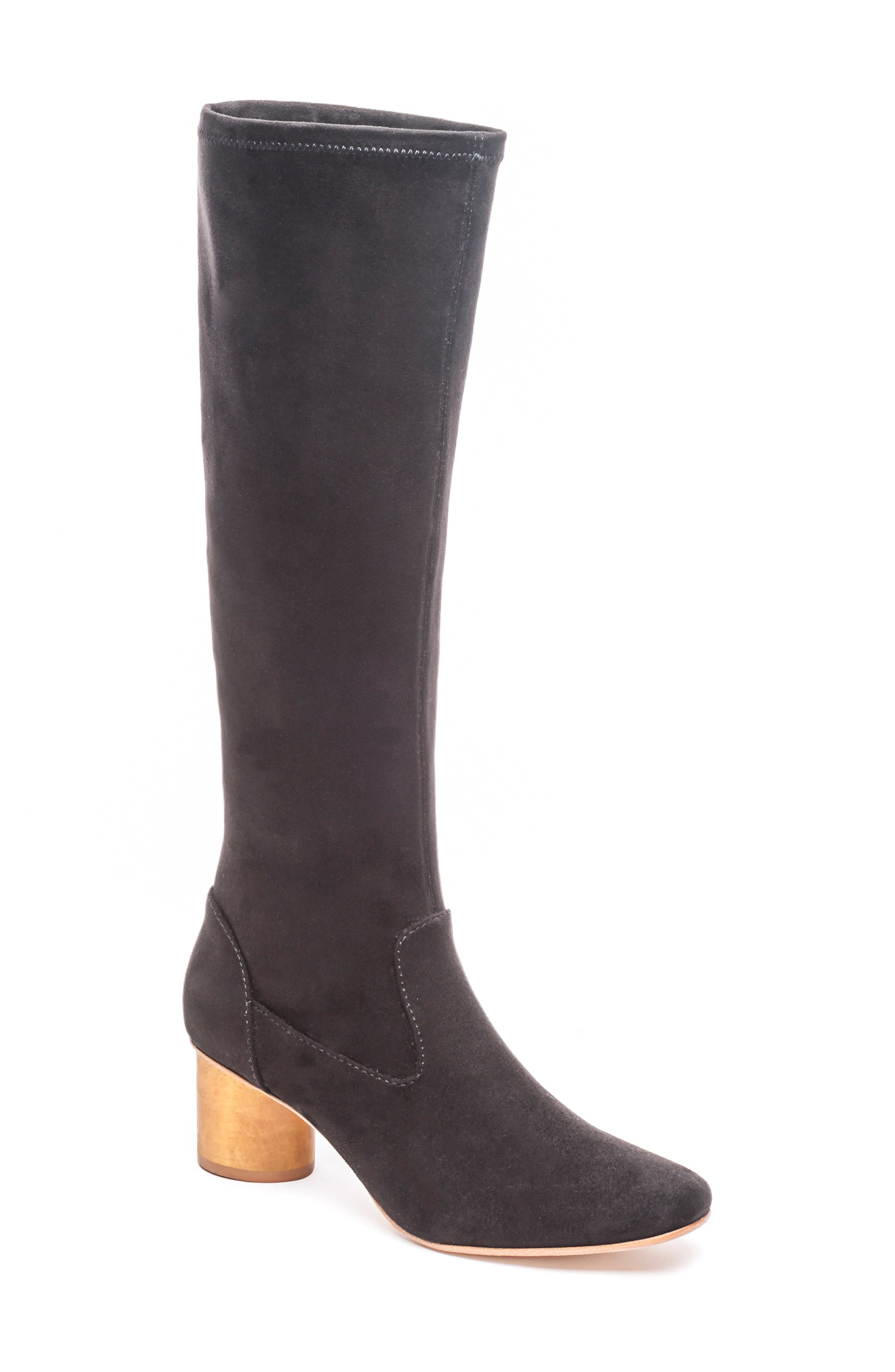A contrast rounded heel grounds a sleek knee-high boot in soft, supple suede. Style Name: Bernardo Knee High Boot (Women) (Narrow Calf). Style Number: 5637485. Available in stores.