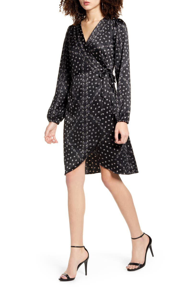 VERO MODA Gamma Long Sleeve Wrap Dress, Main, color, BLACK