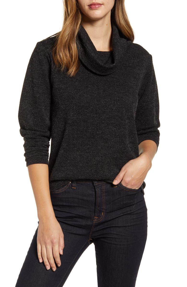 BOBEAU Turtleneck Sweater, Main, color, BLACK