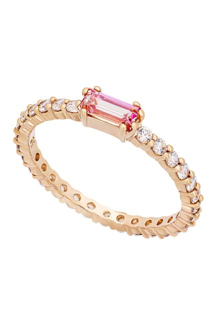 Image of Swarovski Vittore 18K Rose Gold Plated Pink & Clear Swarovski Crystal Ring - Size 6