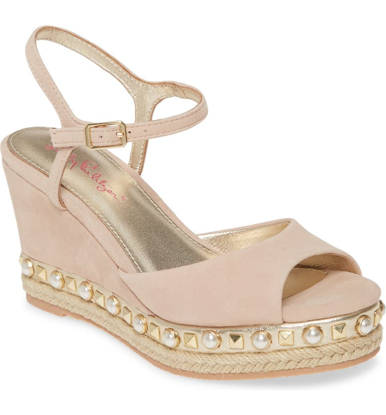 LILLY PULITZER<SUP>®</SUP> Lilly Pulitzer Hadley Espadrille Wedge Sandal, Main, color, NATURAL SUEDE