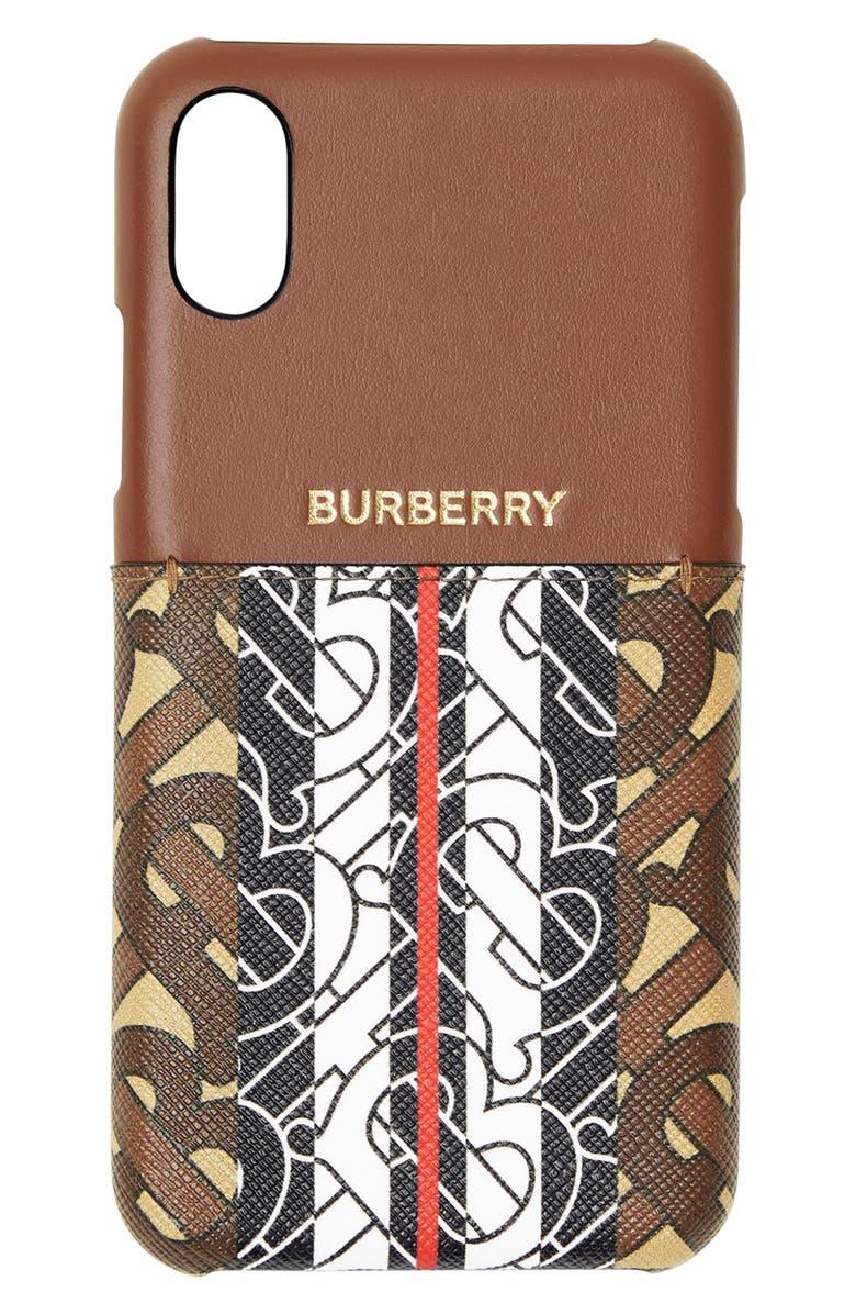 BURBERRY Tricolor Monogram iPhone X/Xs Case, Main, color, 200