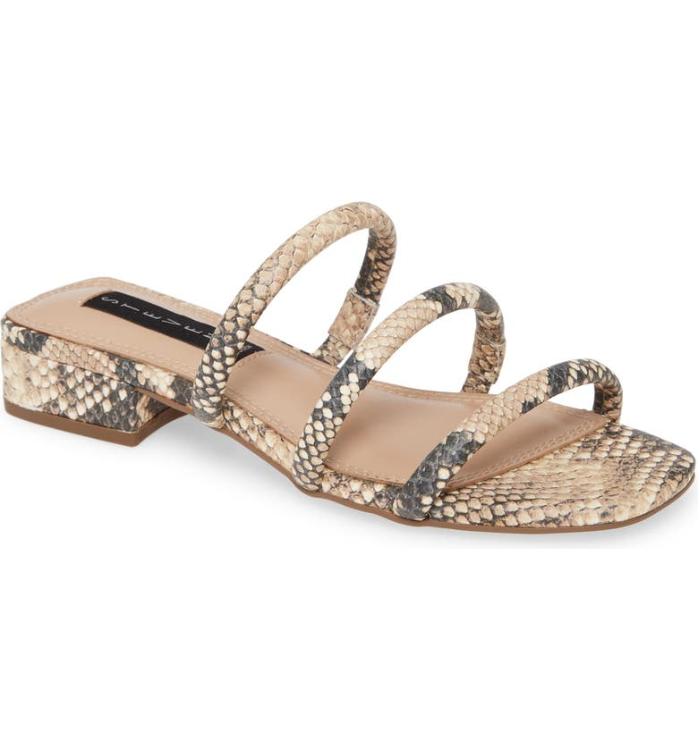 STEVEN BY STEVE MADDEN Steve by Steve Madden Hades Strappy Slide Sandal, Main, color, NATURAL SNAKE PRINT