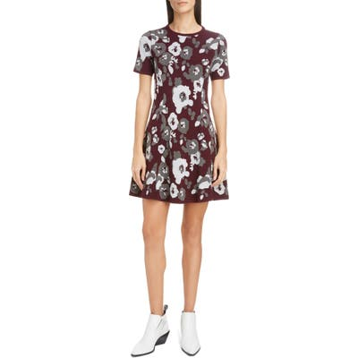 Kenzo Floral Jacquard Fit & Flare Minidress, Grey