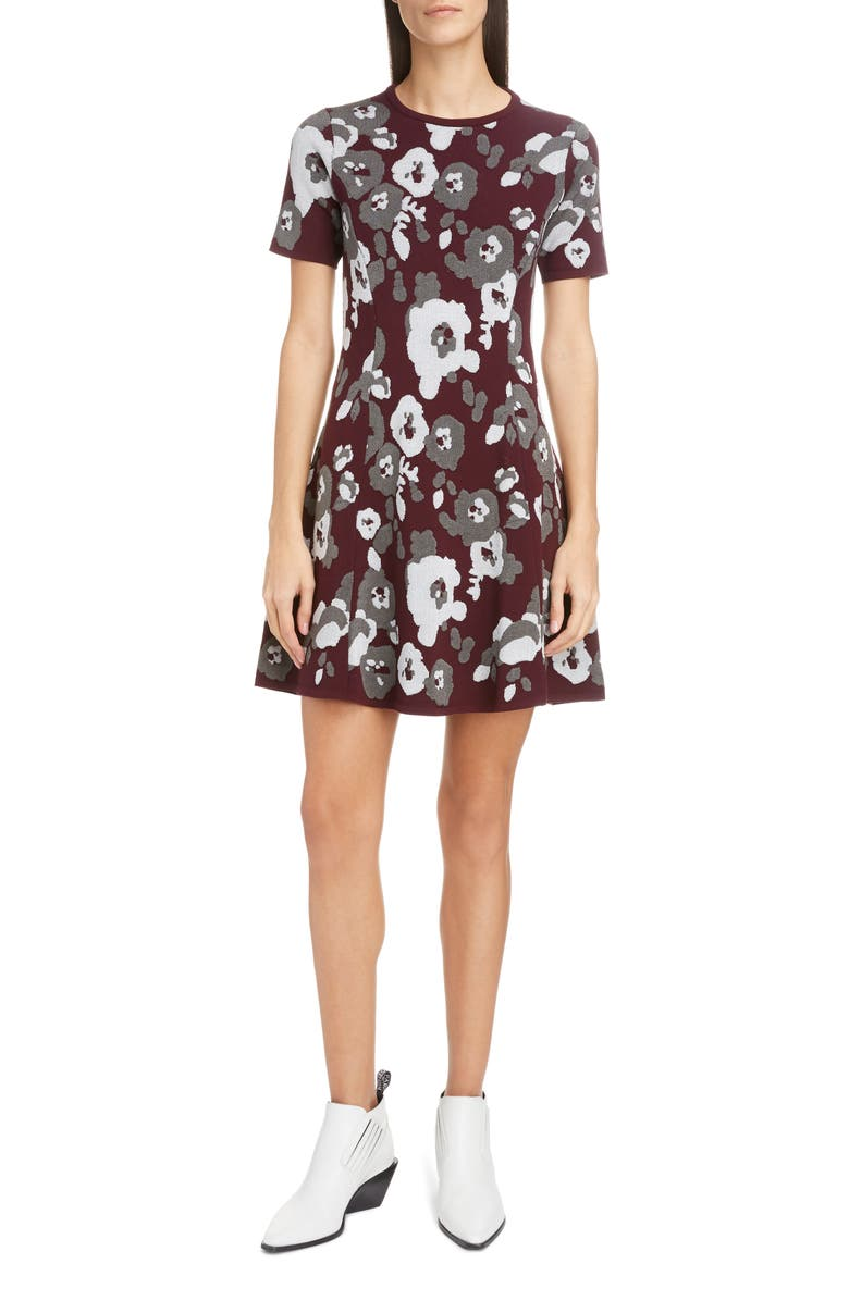 KENZO Floral Jacquard Fit & Flare Minidress, Main, color, 051