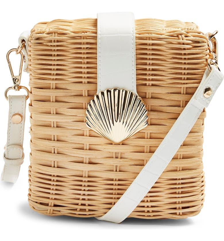 TOPSHOP Shell Wicker Crossbody Bag, Main, color, NUDE