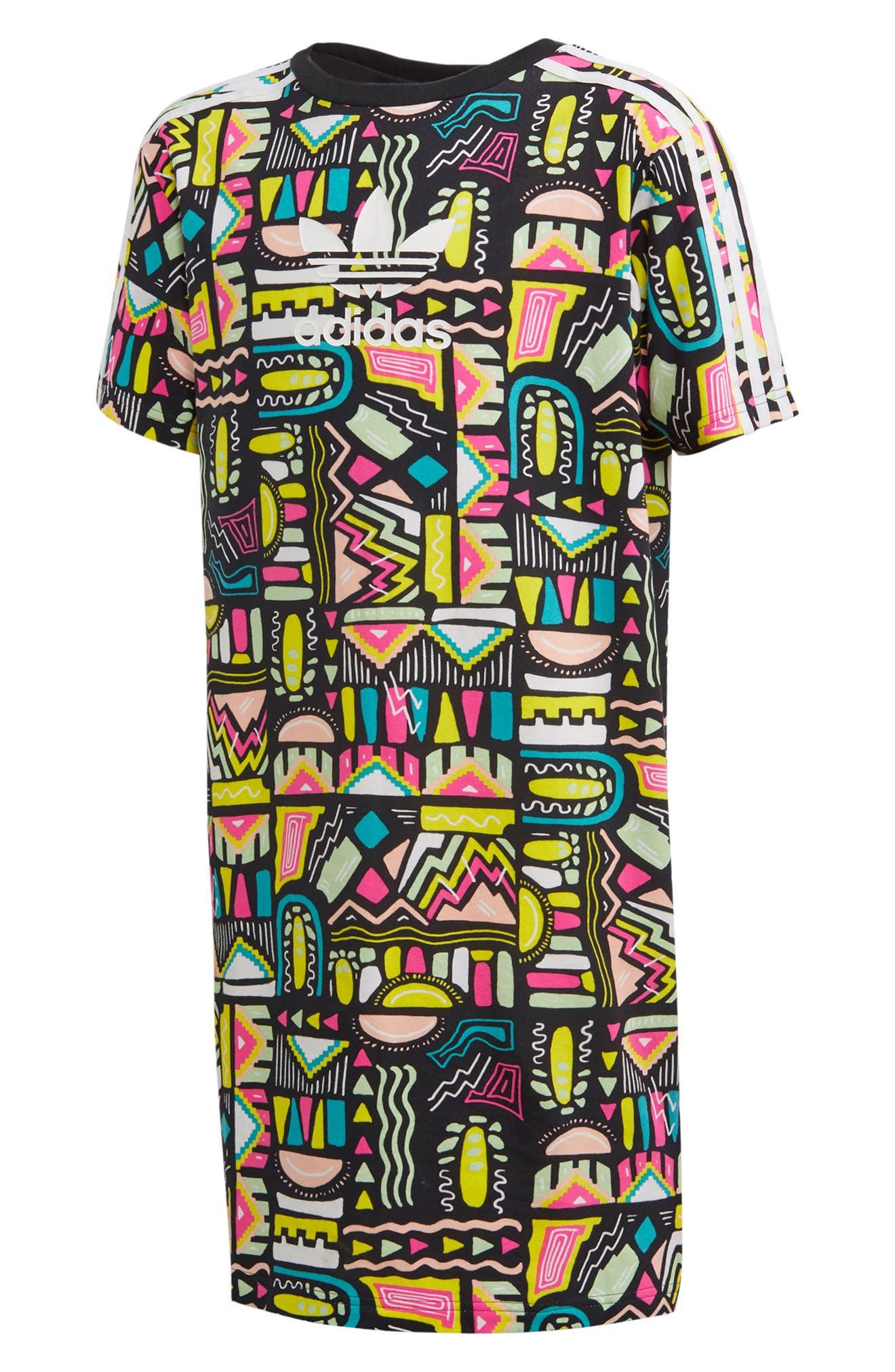 60s 70s Kids Costumes & Clothing Girls & Boys Girls Adidas Logo Graphic T-Shirt Dress $40.00 AT vintagedancer.com