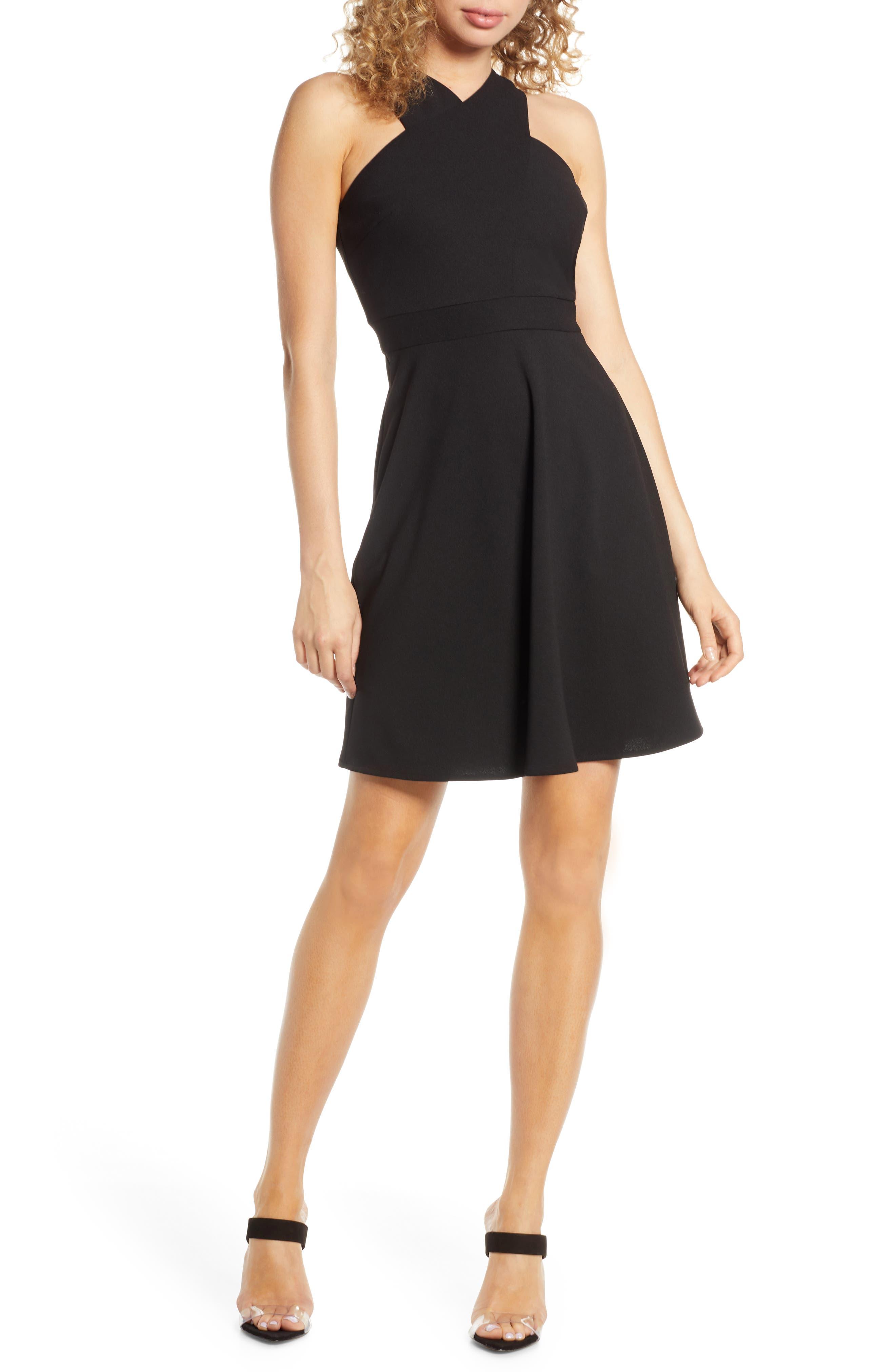 Sam Edelman Crisscross Fit & Flare Dress, Black