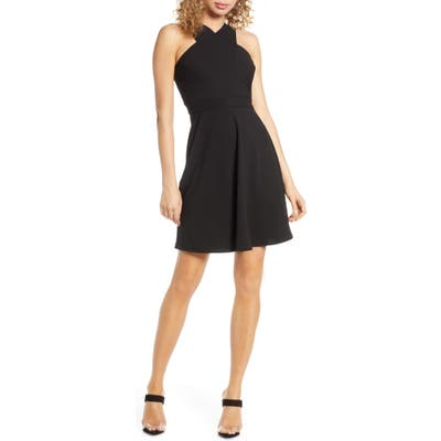 Sam Edelman Crisscross Fit & Flare Dress, Black