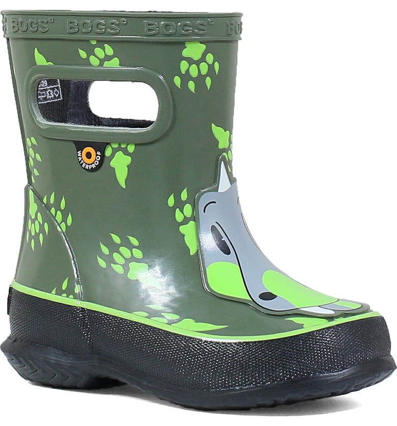 BOGS Animal Skipper Waterproof Rain Boot, Main, color, GREEN MULTI
