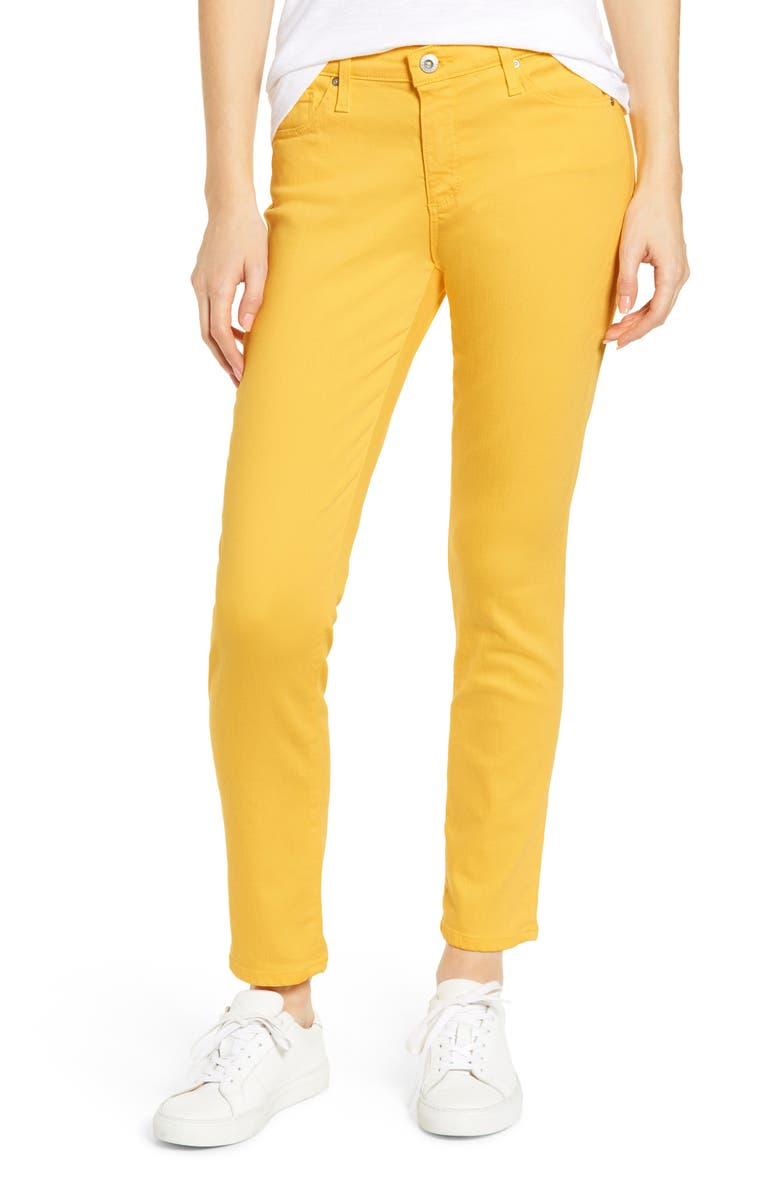AG The Prima Ankle Cigarette Jeans, Main, color, YELLOW IRIS