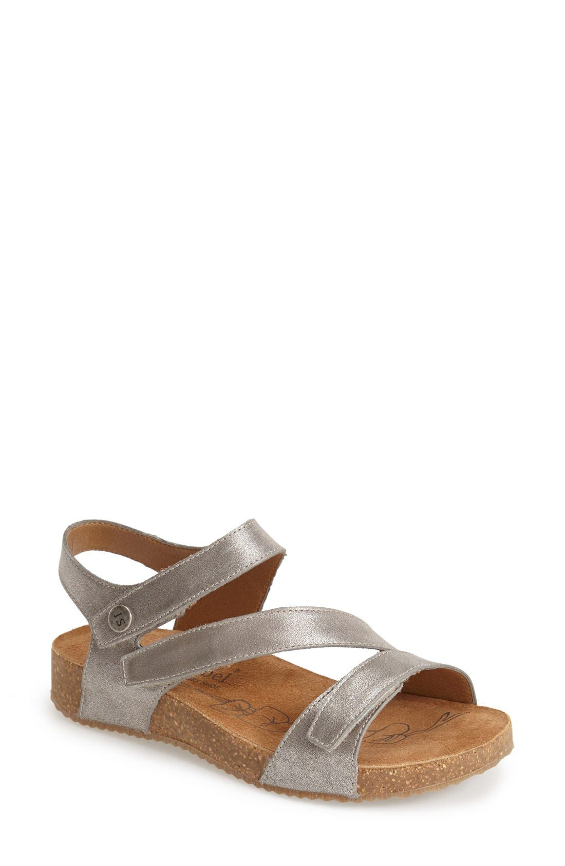 A trio of adjustable leather straps perfect the fit on a comfortable sandal shaped with a cushioned, anatomic footbed and supported by a springy cork platform. Style Name: Josef Seibel \\\'Tonga\\\' Leather Sandal (Women). Style Number: 865413 1. Available in stores.