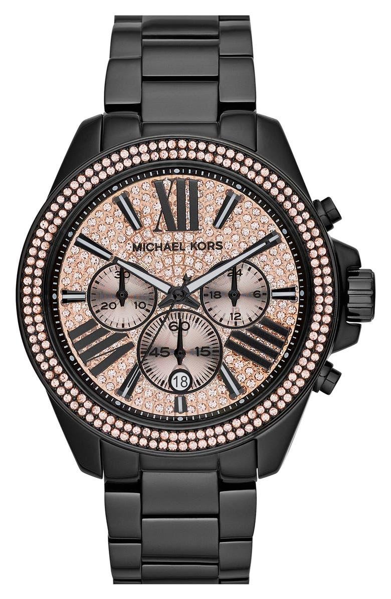 MICHAEL MICHAEL KORS Michael Kors 'Wren' Pavé Dial Chronograph Bracelet Watch, 42mm, Main, color, 001