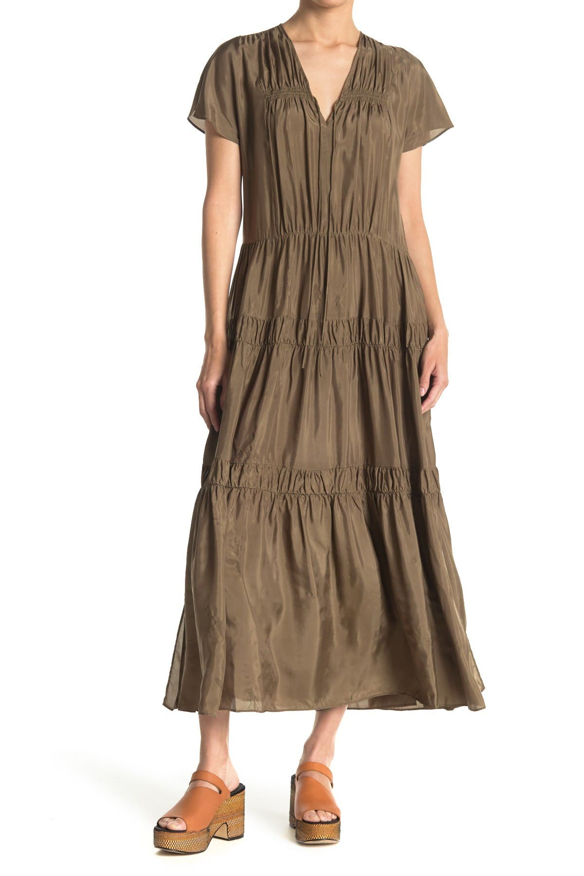 Image of See By Chloe Tiered Satin Maxi Dress