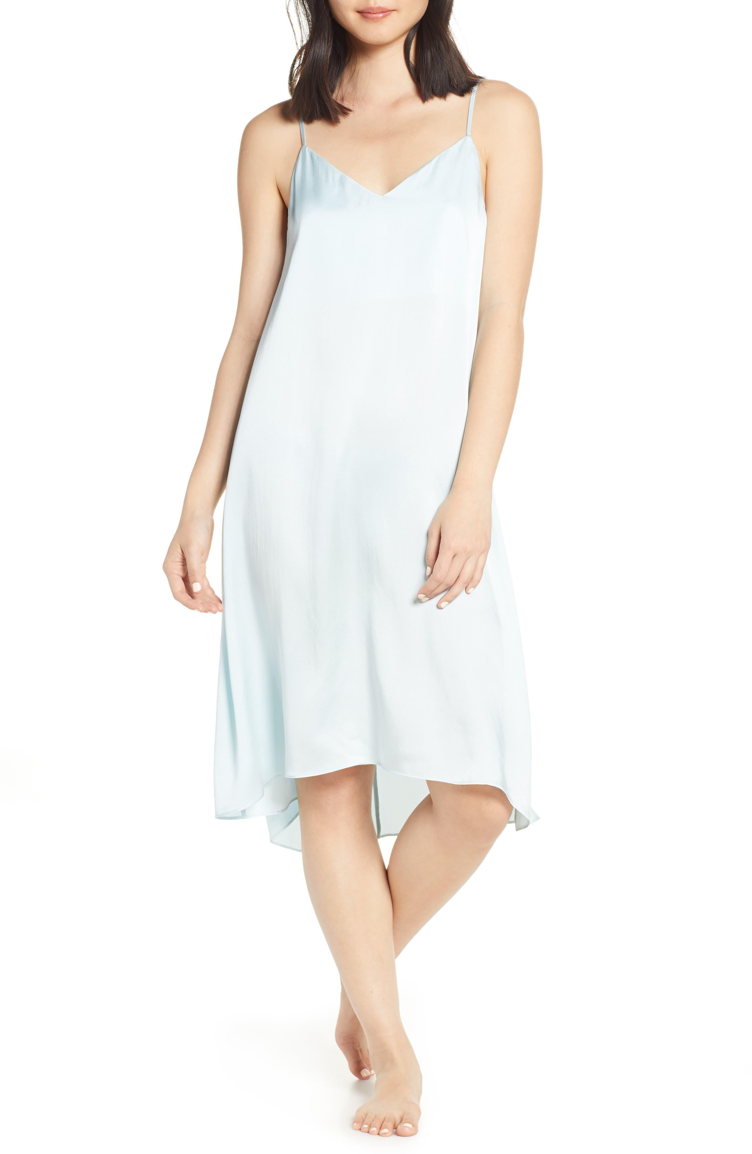 Papinelle Sage Slip Silk Nightgown, Blue
