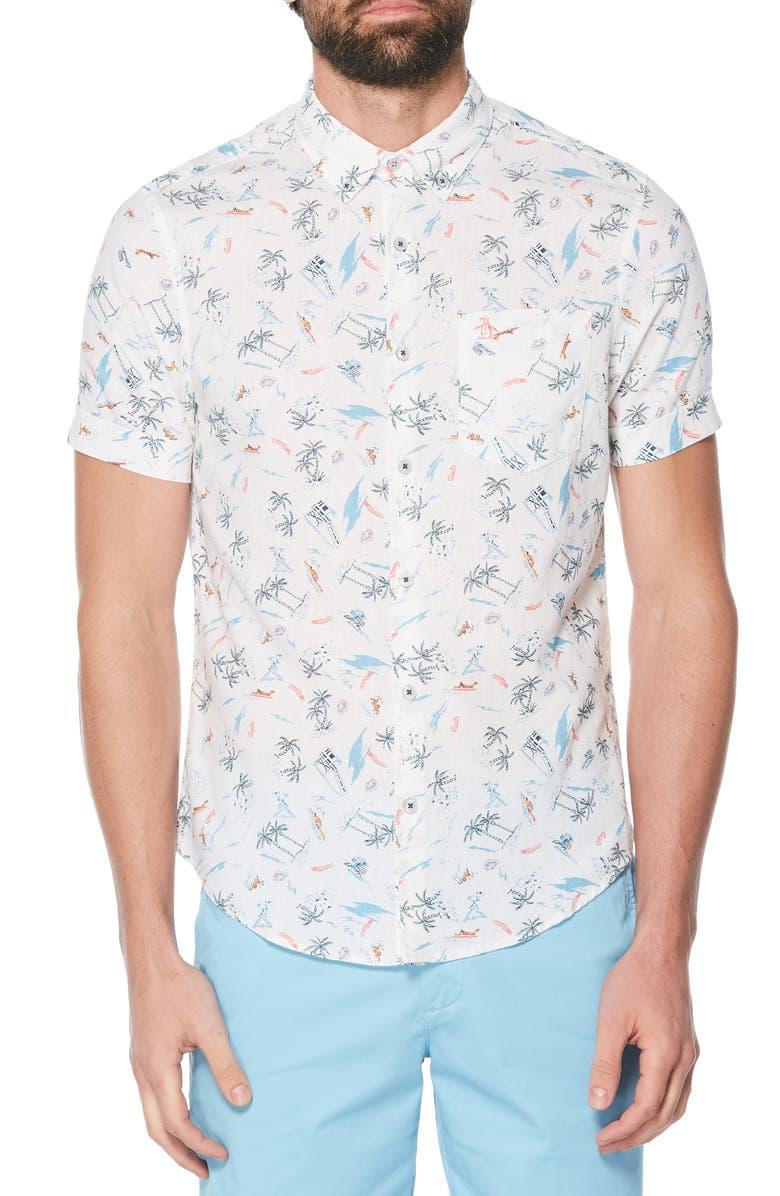 ORIGINAL PENGUIN Hawaii Vacation Linen & Cotton Woven Shirt, Main, color, 118