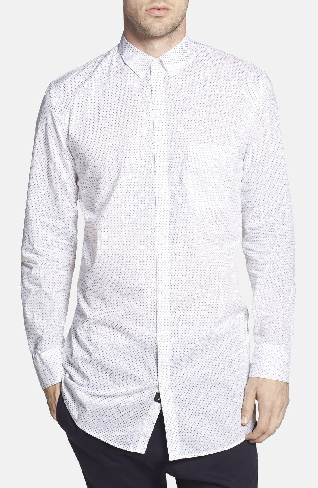 'Eight Foot' Elongated Print Woven Shirt, Main, color, 100