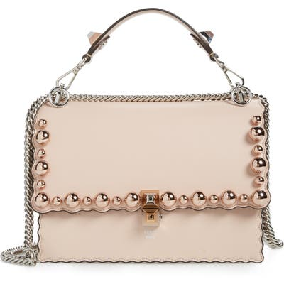 Fendi Mini Kan I Imitation Pearl Scallop Leather Shoulder Bag - Pink