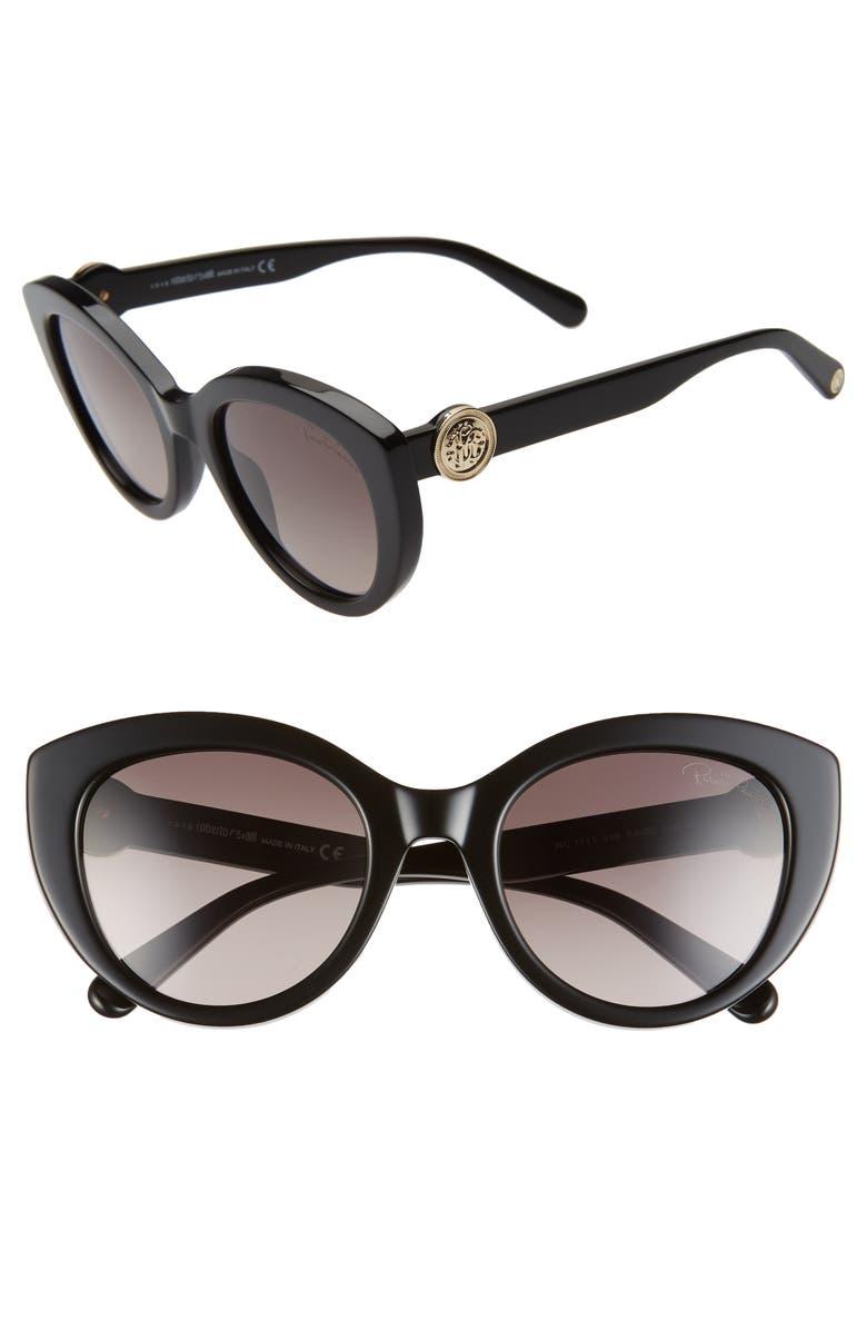 ROBERTO CAVALLI 53mm Gradient Cat Eye Sunglasses, Main, color, SHINY BLACK/ GRADIENT SMOKE