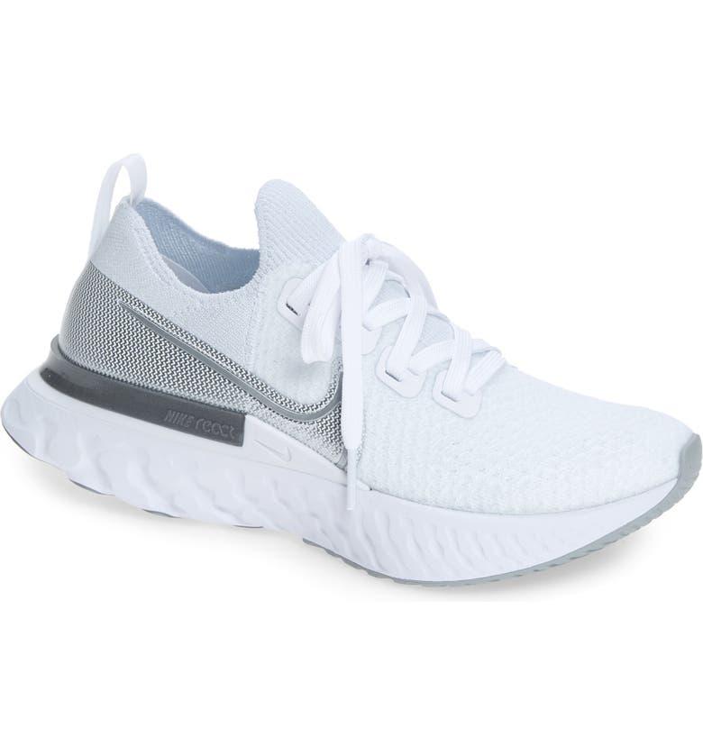 NIKE React Infinity Run Flyknit Running Shoe, Main, color, TRUE WHITE/ SILVER/ WHITE