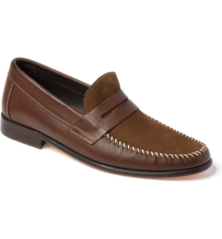 SANDRO MOSCOLONI Hugo Moc Toe Penny Loafer, Main, color, BROWN LEATHER