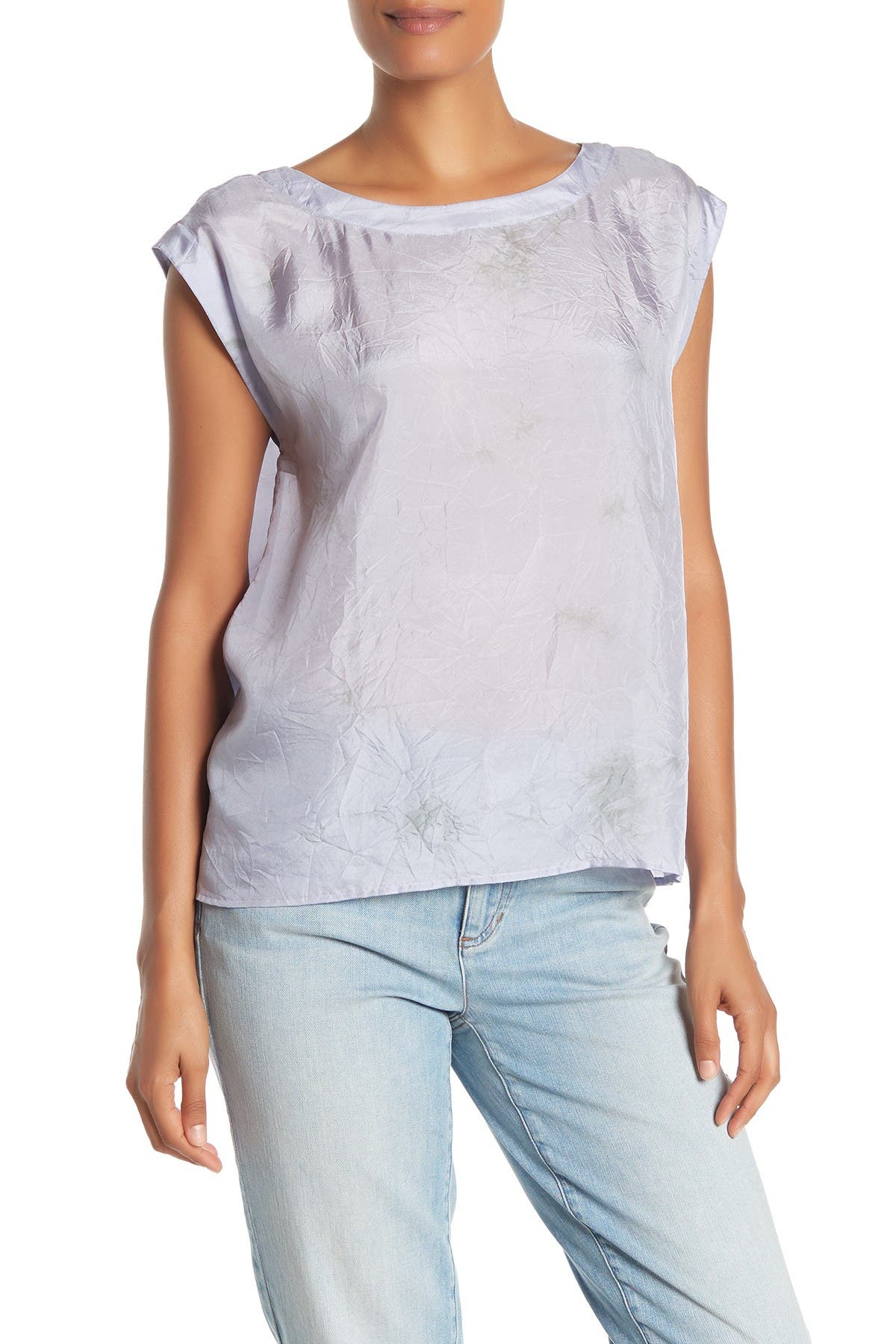 Image of Eileen Fisher Jewel Neck Silk Short Sleeve Blouse