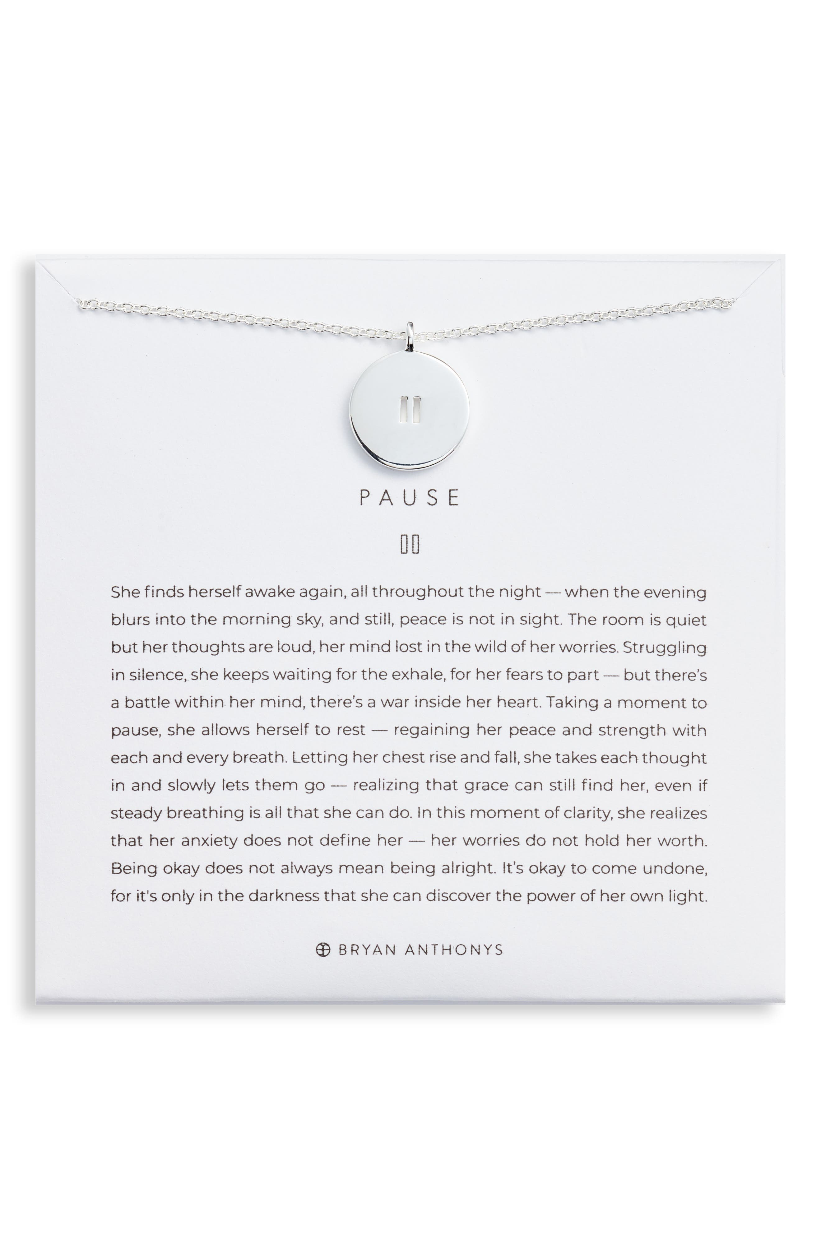 Pause Pendant Necklace in Silver at Nordstrom