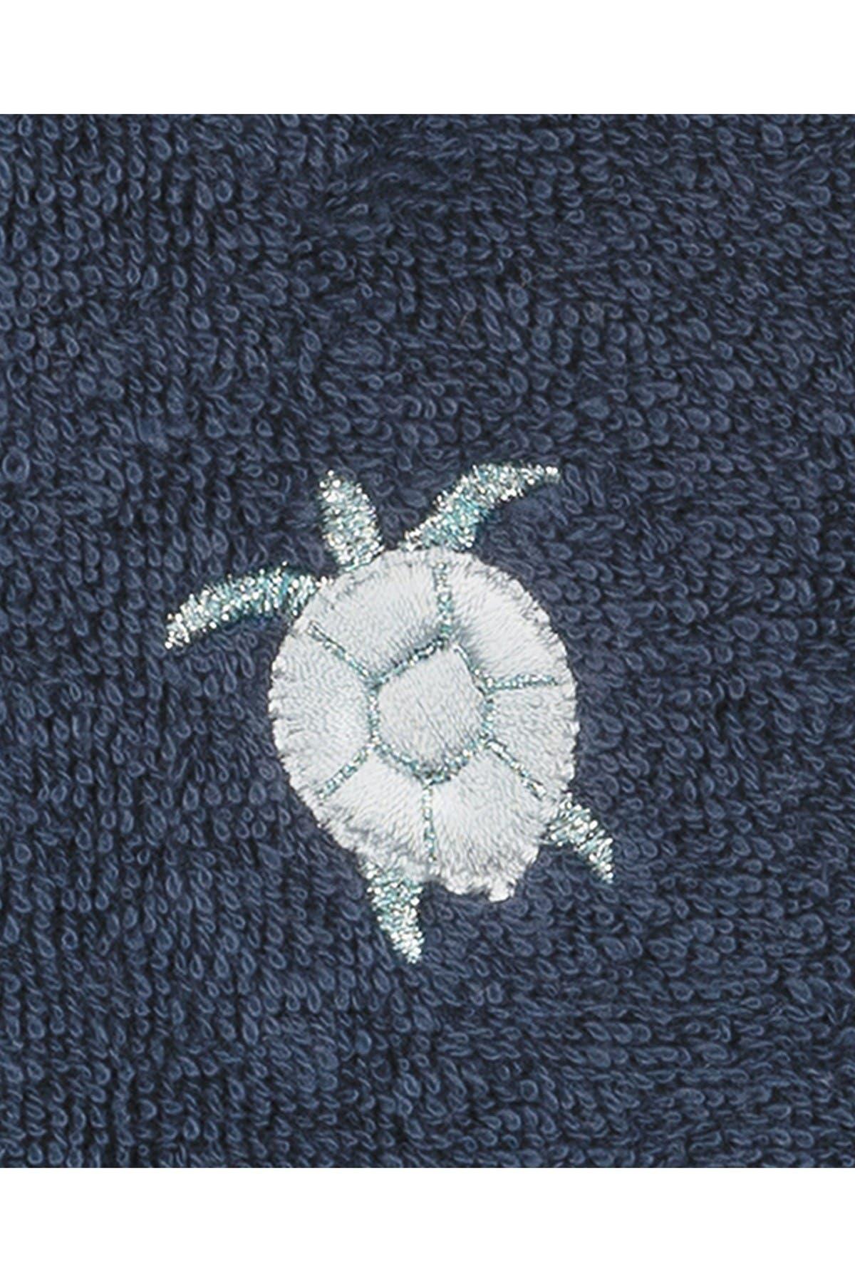 Image of LINUM HOME Ava Embellished Washcloth - Set of 2 - Midnight Blue