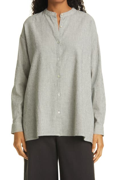 Eileen Fisher MANDARIN COLLAR ORGANIC COTTON BLEND TUNIC SHIRT