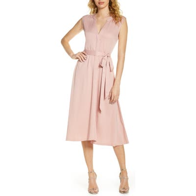 Caara Florence Belted Midi Dress, Pink