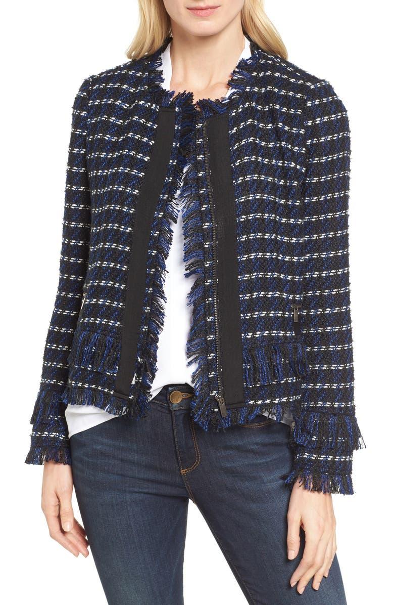 HALOGEN<SUP>®</SUP> Raw Edge Tweed Jacket, Main, color, 001