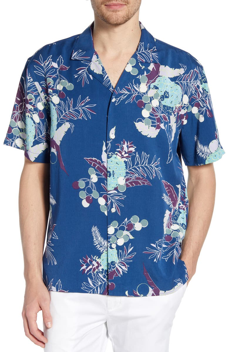 BONOBOS Slim Fit Cabana Pineapple Print Shirt, Main, color, PINEAPPLE