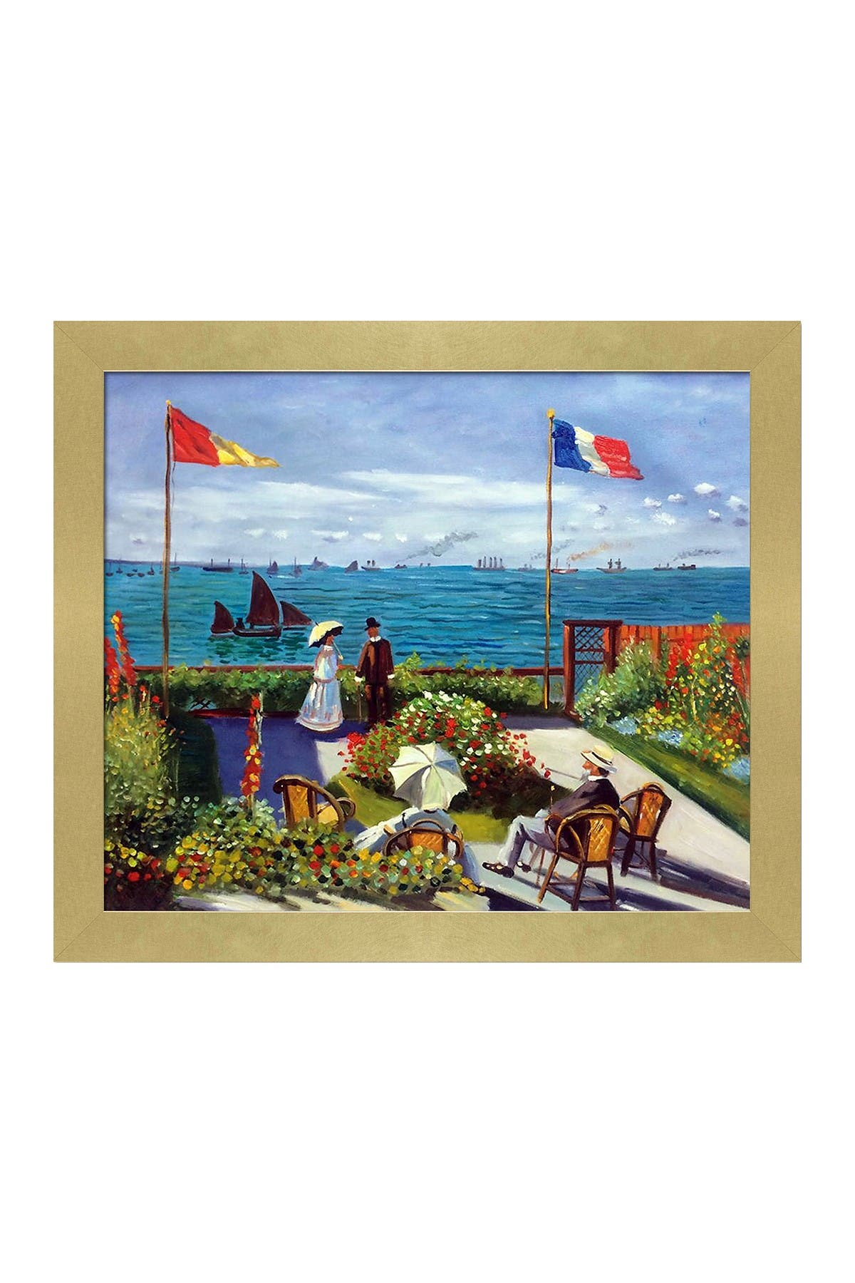 """Image of Overstock Art The Terrace at St. Adresse with Semplice Specchio Frame - 24"""" x 28"""""""