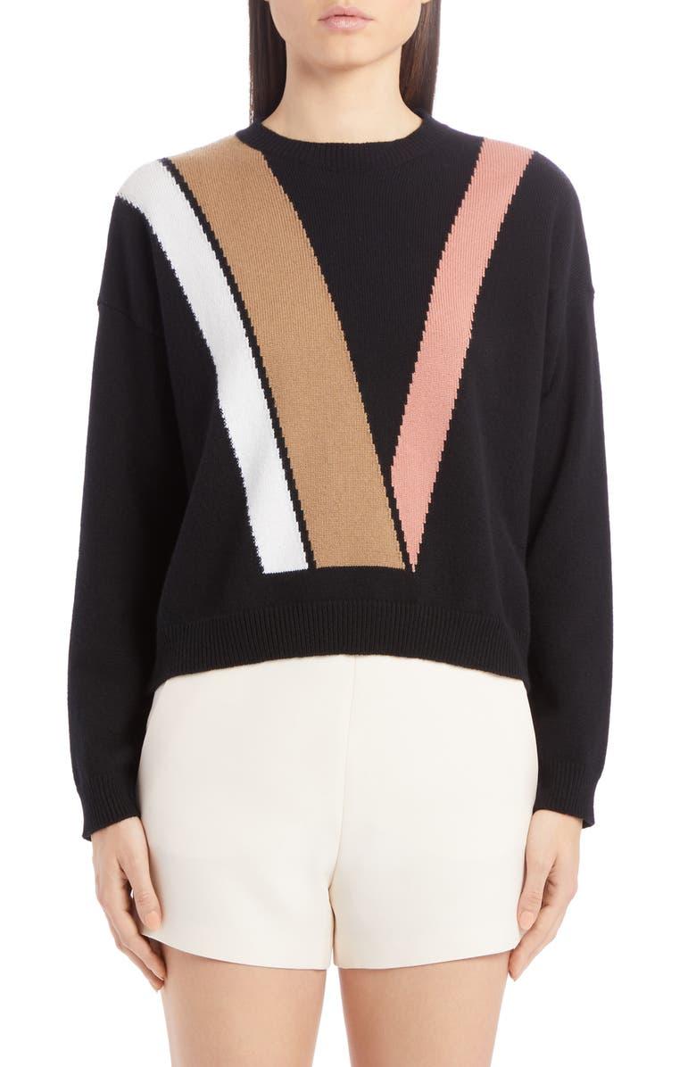 VALENTINO Colorblock Intarsia Logo Wool & Cashmere Sweater, Main, color, 001