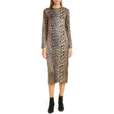 Ganni Leopard Print Stretch Silk Long Sleeve Midi Dress, US / 4 - Brown