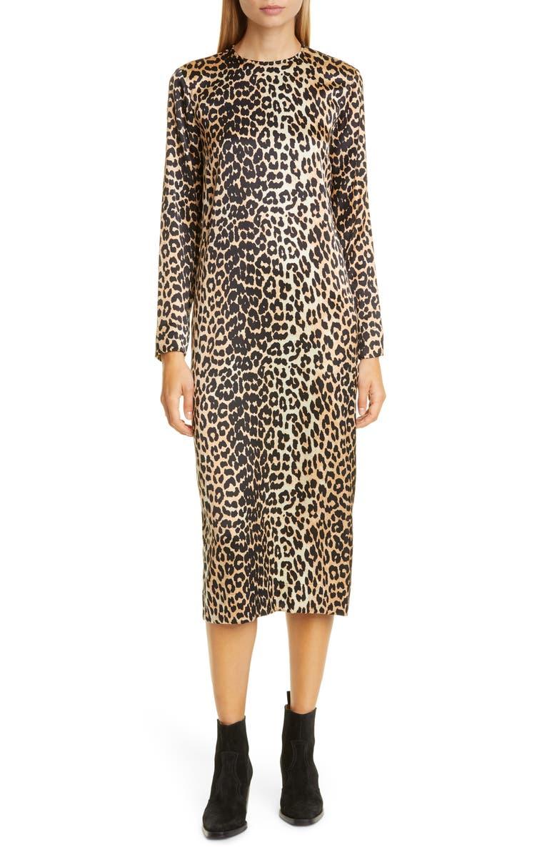 GANNI Leopard Print Stretch Silk Long Sleeve Midi Dress, Main, color, LEOPARD