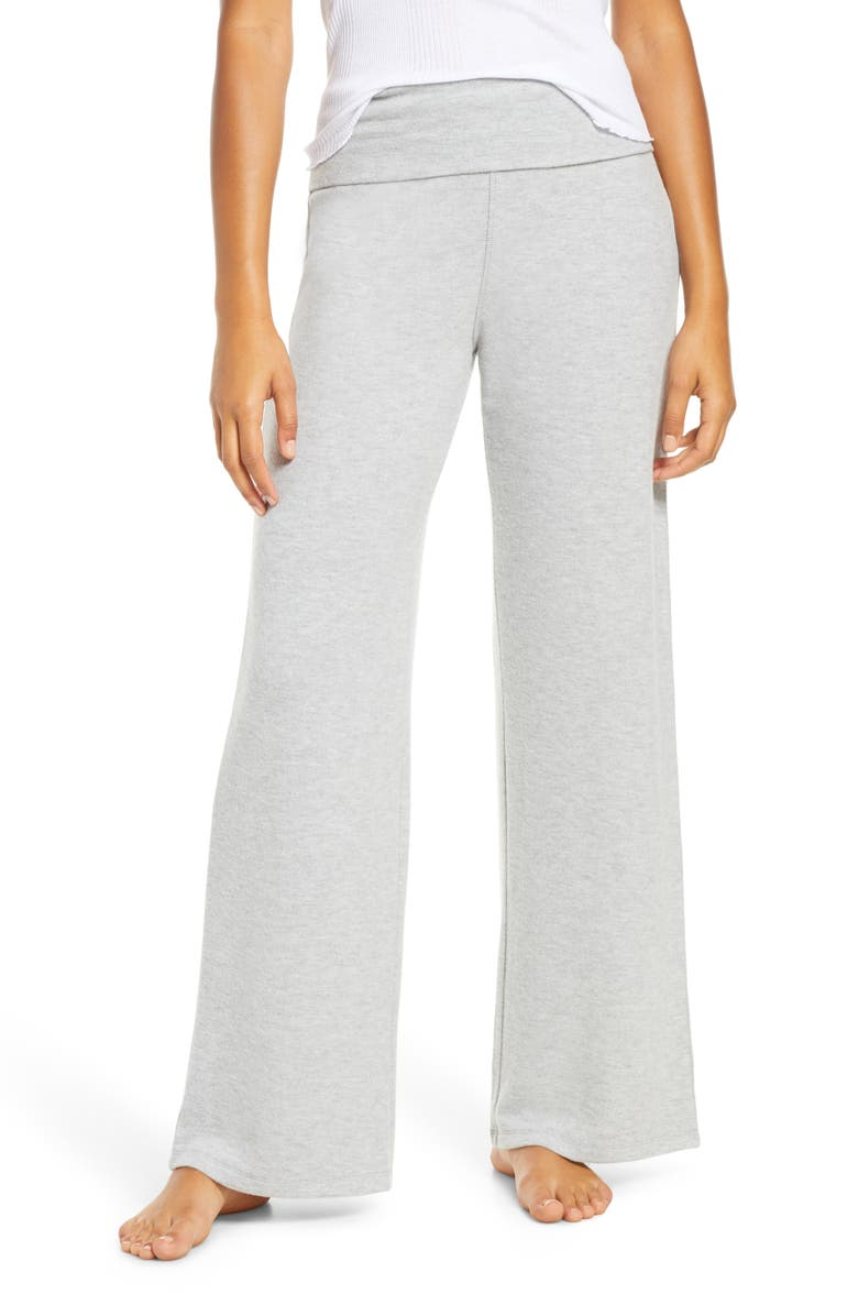 SOCIALITE Foldover Wide Leg Lounge Pants, Main, color, GREY