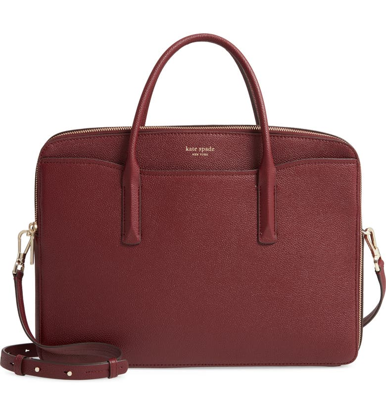 KATE SPADE NEW YORK margaux leather universal laptop bag, Main, color, CHERRYWOOD